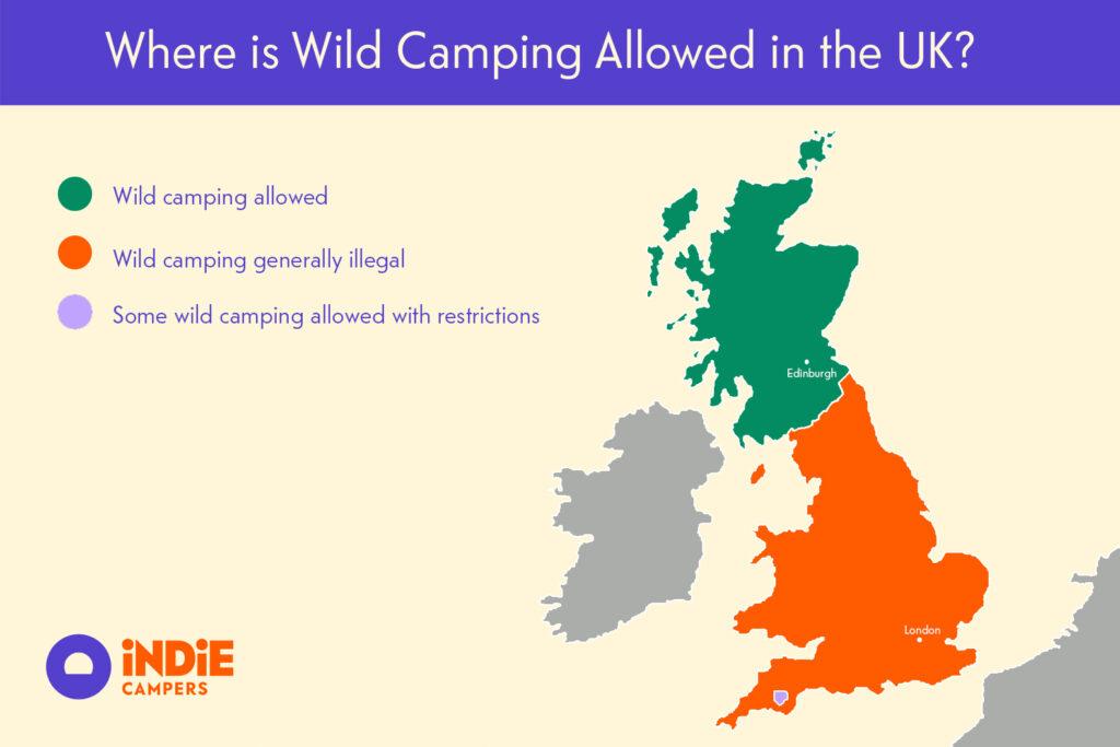 Wild camping UK map